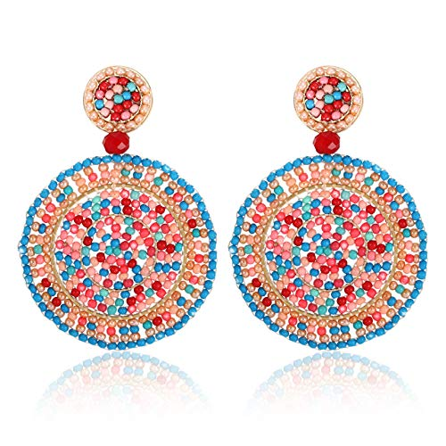 CEALXHENY Beaded Drop Earrings for Women Handmade Colorful Bead Earrings Bohemia Hoop Dangle Earring for Girls (A Mixed Color) ()