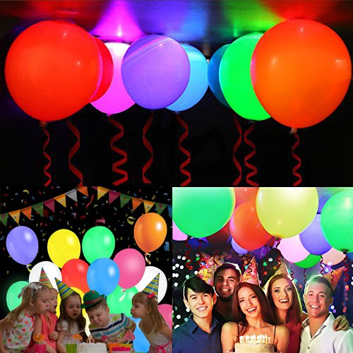 TECHSHARE 32 Pack LED Light Up Balloons, 8 Colors Flashing Lights Glow in The Dark Balloons for Party Supplies Birthday Party Wedding Decorations - Can be Filled with Helium, Air by TECHSHARE (Image #3)