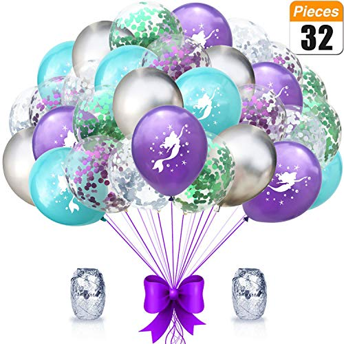 Mermaid Party Balloons Supplies Birthday Decorations Pack of 32 - Mermaid Printed Balloons with Glitter Confetti Clear Sparkle Decorations Sea Party Balloon Kit for Children Birthday (32 Birthday Party Supplies)
