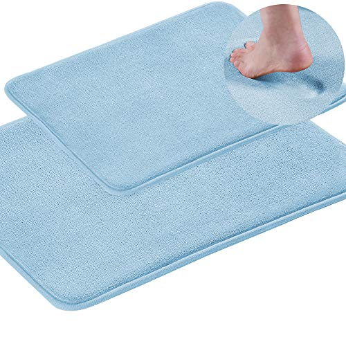 (Turquoize 2 Pack Memory Foam Toilet Rugs for Bathroom Resistant Flannel Bath Mat Non Slip Dry Fast Machine-Washable Bath Mat,20