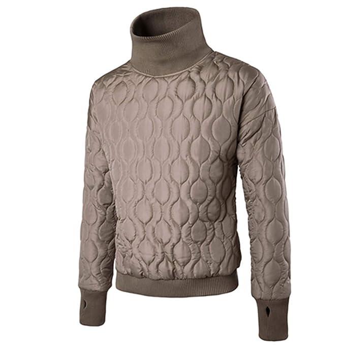 ZODOF Chaqueta de Hombre Camisa de Cuello Alto de Manga Larga con Cuello Alto y Cuello