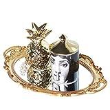 Zosenley Polyresin Ellipse Antique Decorative Mirror Tray, Makeup Organizer, Jewelry Organizer, Serving Tray, 9.8'x 14.6', Gold