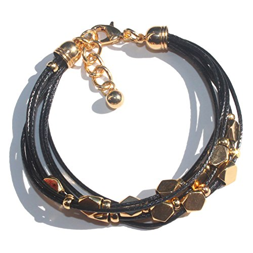 - Zoomnovo Gold Mens Leather Bracelets Black Multi Strand Leather Women & Men Fashion Accessories Jewelry (Gold)