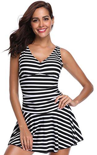 SHEKINI Women's One Piece Skirt Swimsuit Ruched Retro Swimdress Bathing Suit (Medium, Stripe Black)