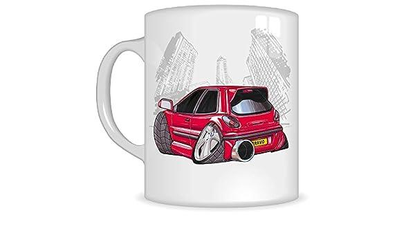 Regalos de Koolart k355-mg dibujos animados de Fiat Bravo - Caricatura Rojo para hombre de regalo de taza, diseño de Fiat (tazas): Amazon.es: Coche y moto
