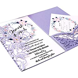 FEIYI 20 PCS 3 Folds Laser Cut Rose Shape Wedding Invitations Cards for Wedding Bridal Shower Engagement Birthday Graduation Invitation Cards (Violet)