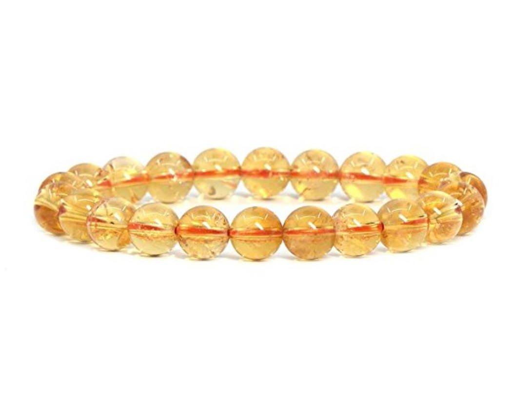 Top Quality Natural Citrine Gemstone Bracelet 7'' Stretchy Bracelet 8mm Round Beads in Gift Bag #GB8-27