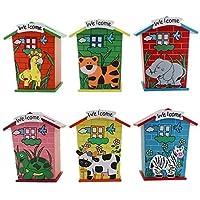 Jiada Piggy Bank Wood House Birthday Return Gifts | Multi Color (Pack of 6)