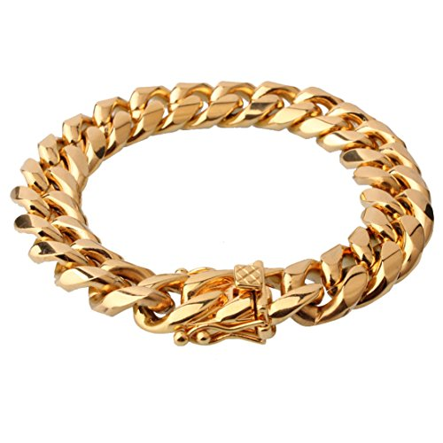 FANS JEWELRY Heavy Mens Chain Bracelet 316L Stainless Steel Double Curb Cuban Link 15mm 7-11 inch(8 (Gold Double Curb Chain)