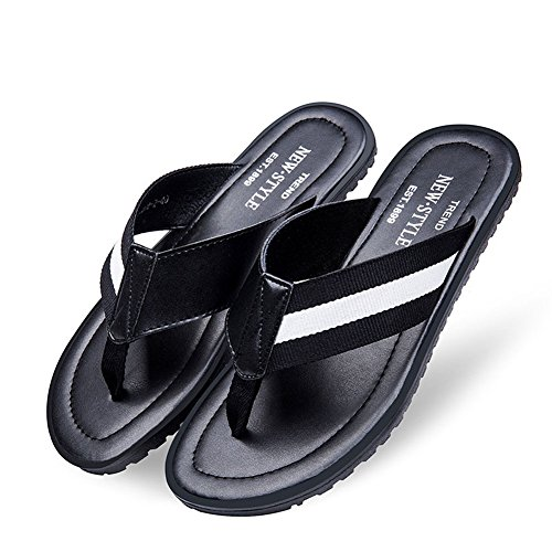 [Fashion Men's Summer Beach Flip-Flop Cow Leather Slippers with Carring Case(Black & White,9.5)] (Brazil Costume Male)