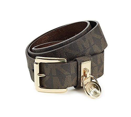 Michael Kors Chocolate Hamilton Lock Monogram Belt Chocolate M - Michael Kors Brown Belt