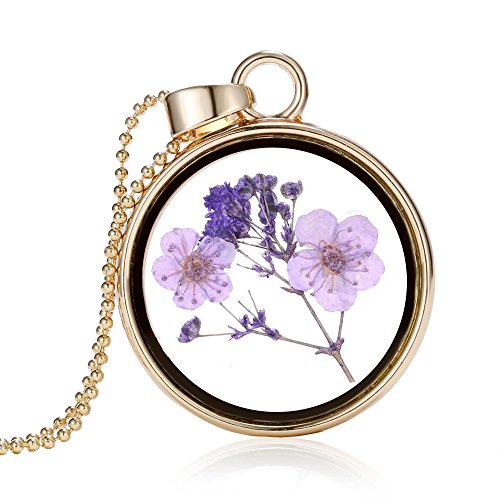 Coolrunner memory locket gold chain necklaces & pendant real air purple dried flower glass pendant necklace for women -
