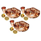Set of 3 Prisha India Craft Dinnerware Pure Copper Thali Set Dia 12'' Traditional Dinner Set of Plate, Bowl, Spoons, Glass with Napkin ring and Coaster - Christmas Gift