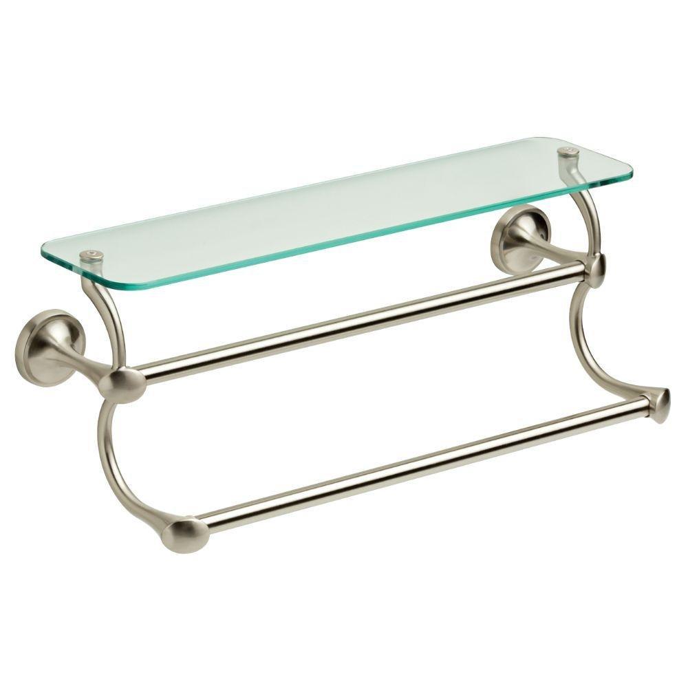Delta 18 In Glass Bathroom Shelf With Double Towel Bar In Spotshield Brushed Nickel