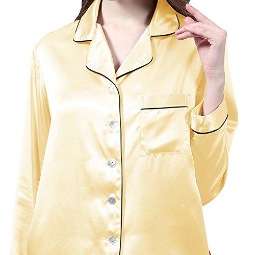 LULUSILK Conjunto de Pijama de Seda 19 Momme de Manga Larga con pantalones cortos Oro