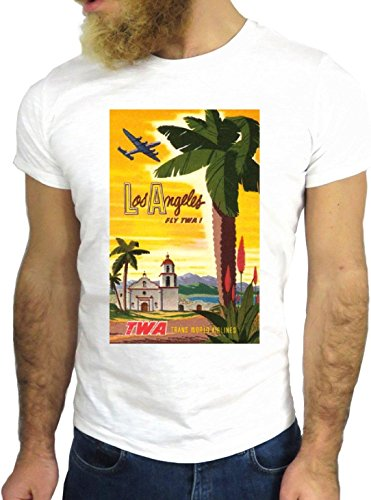 T SHIRT JODE Z3470 TWA LOS ANGELES CALIFORNIA USA FLYING PLANE VINTAGE NICE GGG24 BIANCA - WHITE M