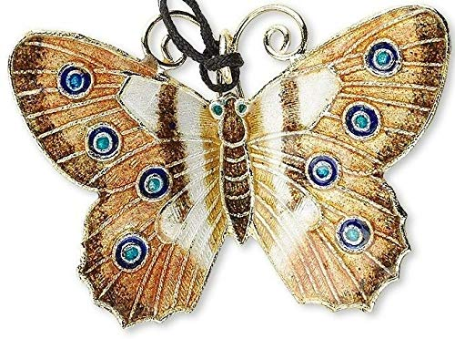 1 Gold Brown White 46X35Mm Butterfly Cloisonne Pendant ()
