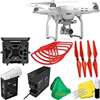 DJI Phantom 3 Advanced Quadcopter Drone with 2.7K HD Video Camera + Deluxe Hard Case + 4pcs Red Propellers + Red Propeller Guards + ZEEKITS Microfiber Cloth + Lens Cleaning Kit for DJI