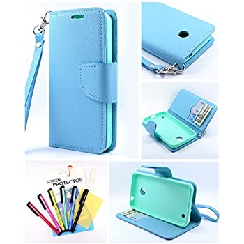 Thousand Eight(TM) For Nokia lumia 635/630 Candy Dual-Use Flip PU Leather Wallet Pouch Case + [Free LCD Screen Protector Shield(Ultra Clear)+Touch Screen Stylus] (Wallet Pouch blue)