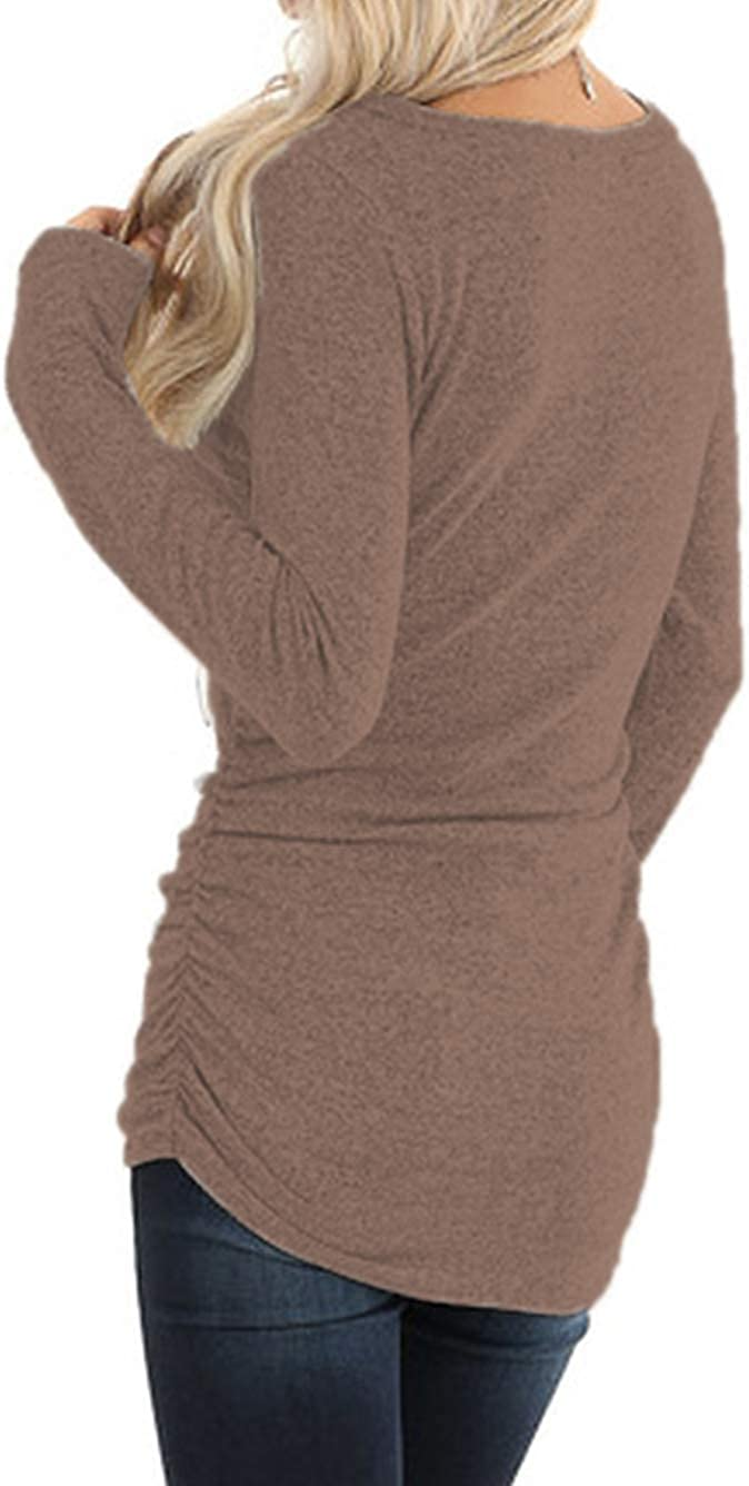 iChunhua Long Sleeve Shirt Women Long Tunic Sweater with Side Ruching