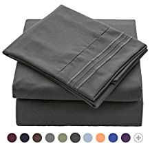 VEEYOO 1800 Thread Count Bedding Wrinkle Free Hypoallergenic Bed Sheet Set Hotel Luxury Quality Extra Soft Bedding Set Deep Pockets Pillow Case and Sheet Set - 4 Piece, King, Charcoal