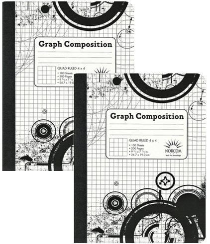 4 x 4 Ruled Graph Composition Book (Pack of 2 Books) by Norcom