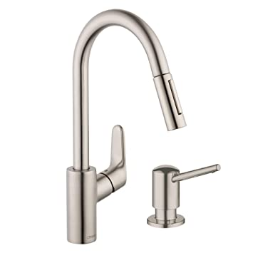 Lovely Hansgrohe KK04505 04539SO Focus HighArc Pull Down 1.75gpm Kitchen Faucet  With Soap Dispenser