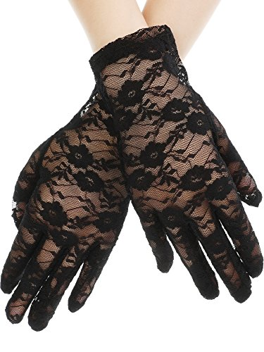 SATINIOR Ladies Lace Gloves Elegant Short Gloves Courtesy Summer Gloves for Wedding Dinner Parties (Black 1) -