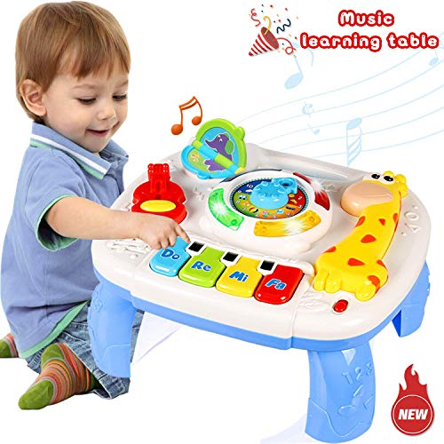 WISHTIME Toddler Learning Table Music Toy 2 in 1 Early Education Toys Music Activity Center Table for Kids Babies Toddler Boys Girls 18+ Months]()
