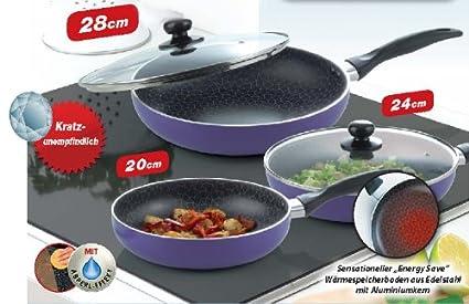 5 piezas Sartén Spider Pan Set de sartenes de inducción lila ...