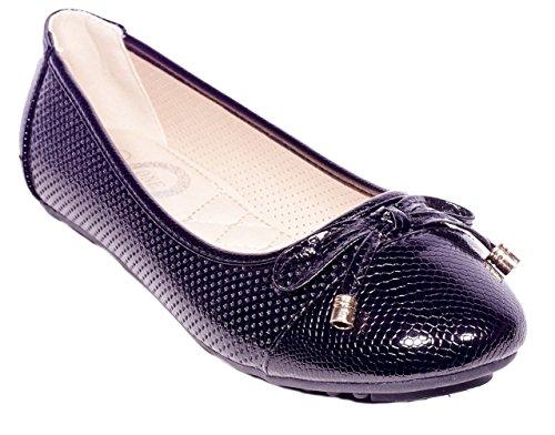 Un Ballerine Da Donna, Inserti Di Fiocchi Scivolano Sulle Scarpe B-2044-nere