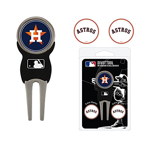 (Team Golf MLB Houston Astros Divot Tool with 3 Golf Ball Markers Pack, Markers are Removable Magnetic Double-Sided Enamel)