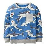 KIDSALON Little Boys' Cotton Crewneck Long Sleeve Cartoon Top/T-Shirt (6T, Sharks)