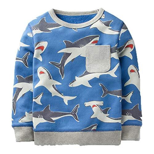 KIDSALON Little Boys' Cotton Crewneck Long Sleeve Cartoon Top/T-Shirt (3T, Sharks) -