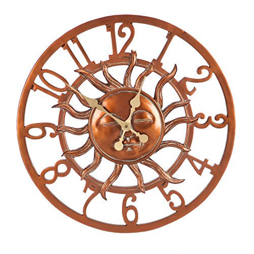 Cape Craftsmen Sunface Copper Finish Outdoor Safe Wall Clock