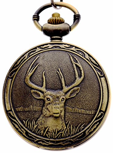 New Watch Design (Retro Deer Bronze Half Hunter Design Quartz Pocket Watch Xmas Gift)