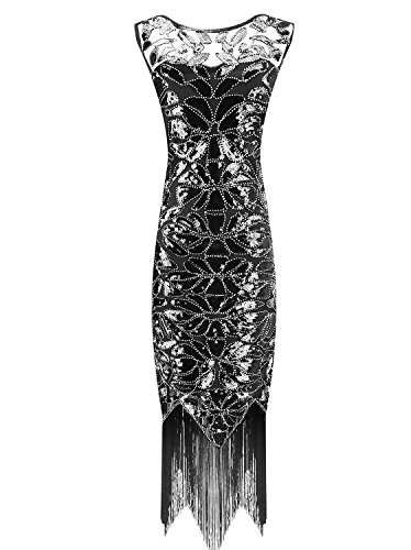 Urmine Women's 1920's Gatsby Retro Sequined Fringed Beaded Flapper Dress (S, Black-ur01) (Great Gatsby Dresses)