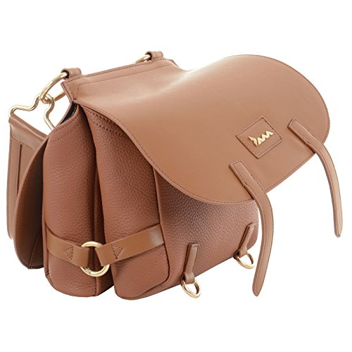 Leather Bag Fashion PU Womens Faux Handbag Chestnut Strap Medium Lotus Zip Ladies Tote JAM Shoulder Closure Saddle Size wOAvYvq