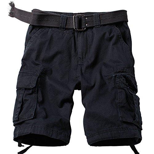 AKARMY Men's Multi Pocket Loose Fit Cotton Twill Cargo Shorts 8062# Black 34