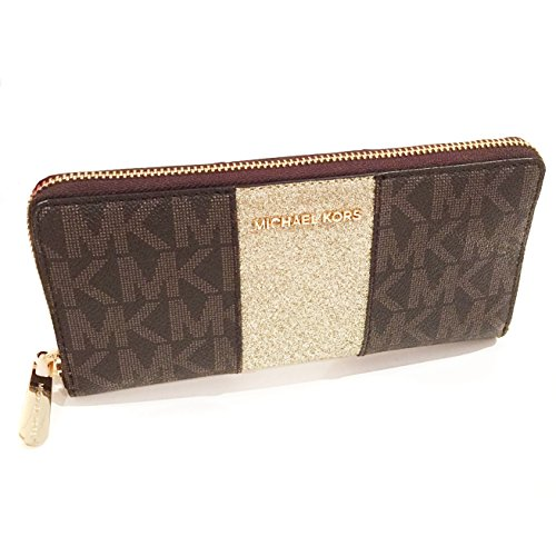 Michael Kors Brown Monogram Gold Glitter Center Stripe Large Travel - Michael Glitter Kors