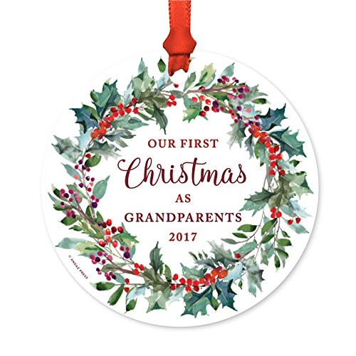 Andaz Press Family Metal Christmas Ornament, Our First Christmas As Grandparents 2017, Red Holiday Wreath, 1-Pack, Includes Ribbon and Gift Bag (Christmas Baubles Custom)