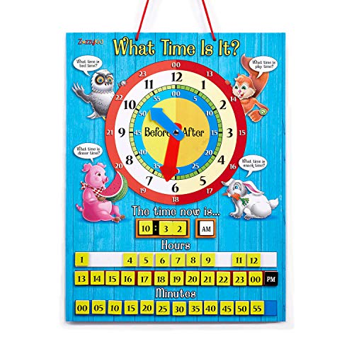 - ZazzyKid Educational Demonstration Clock Teaching Kids Tell The Time - 12.6 x 16.5 inches Magnetic What Time is It Learn & Play Toy - Smart Choice for Parents and Teachers