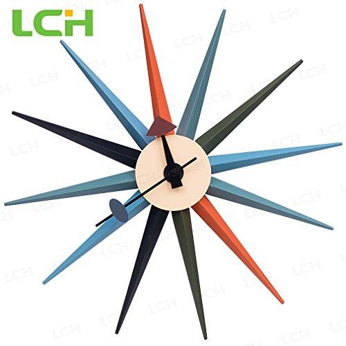 LCH-Orange-Sunburst-Clock-Antique-Retro-Classic-Mid-Century-Modern-Wall-Clock-Designed-by-George-Nelson