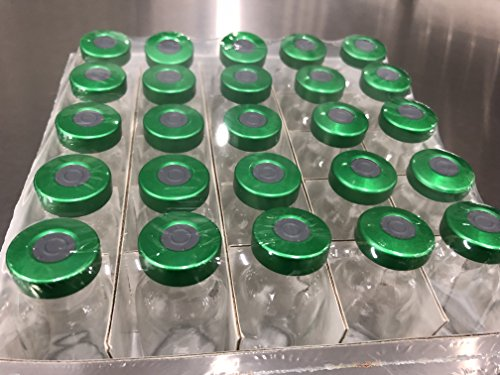 25pk 10ml Sterile Clear Injection Vial Green Aluminum Seals