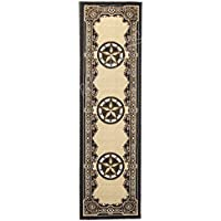 Rugs 4 Less Collection Texas Lone Star State Novelty Runner Area Rug R4L 723 Black (2X7)