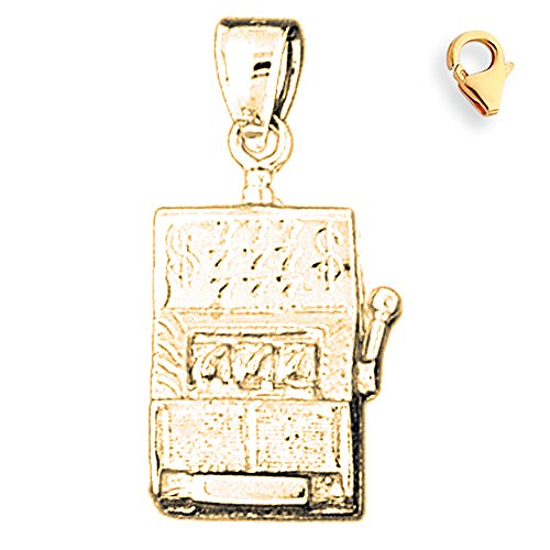 Jewels Obsession Slot Machine Charm | 14K Yellow Gold Slot Machine Charm Pendant - 30mm