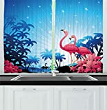 Cheap Ambesonne Tropical Kitchen Curtains, Nature Scene Exotic Flowers and Palm Tree Silhouettes and Flamingos Wildlife, Window Drapes 2 Panels Set for Kitchen Cafe, 55W X 39L Inches, Pink Blue White