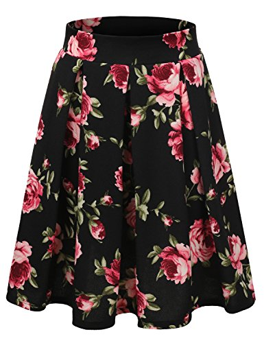 Doublju Elastic Waist Flare Pleated Skater Midi Skirt For Women With Plus Size BlackRose - Lovegood Costume Luna