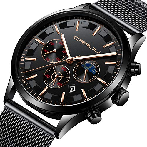Mens Watch Military Waterproof Chronograph Date Black Stainless Steel Mesh Wrist Watch Classic Luxury Business Designer Moon Phase Quartz Watches for Men - Black Gold