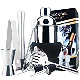 18oz Stainless Steel Cocktail Shaker Bar Set Tools with Martini Mixer Double Measuring Jigger/Mixing Spoon/Liquor Pourers/Muddler/Strainer and Ice Tongs Professional Bar Accessories (8 Piece Set)
